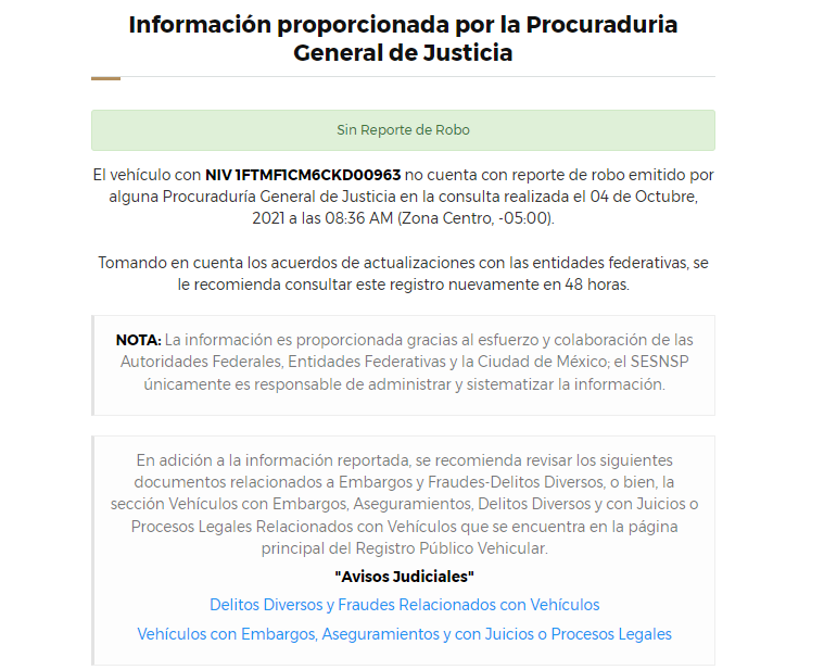 Consulta de Repuve México